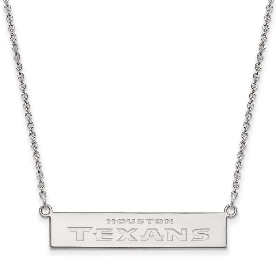 Sterling Silver Houston Texans Small Bar Necklace