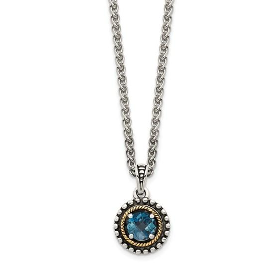 Sterling Silver London Blue Topaz Necklace - 18 in.