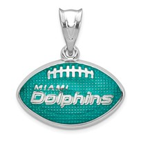 Sterling Silver Miami Dolphins Enameled Football Pendant