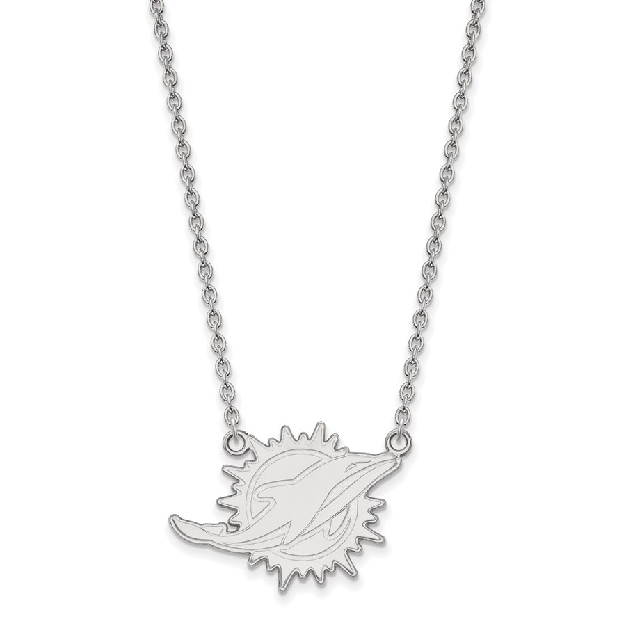 Sterling Silver Miami Dolphins Large Pendant Necklace
