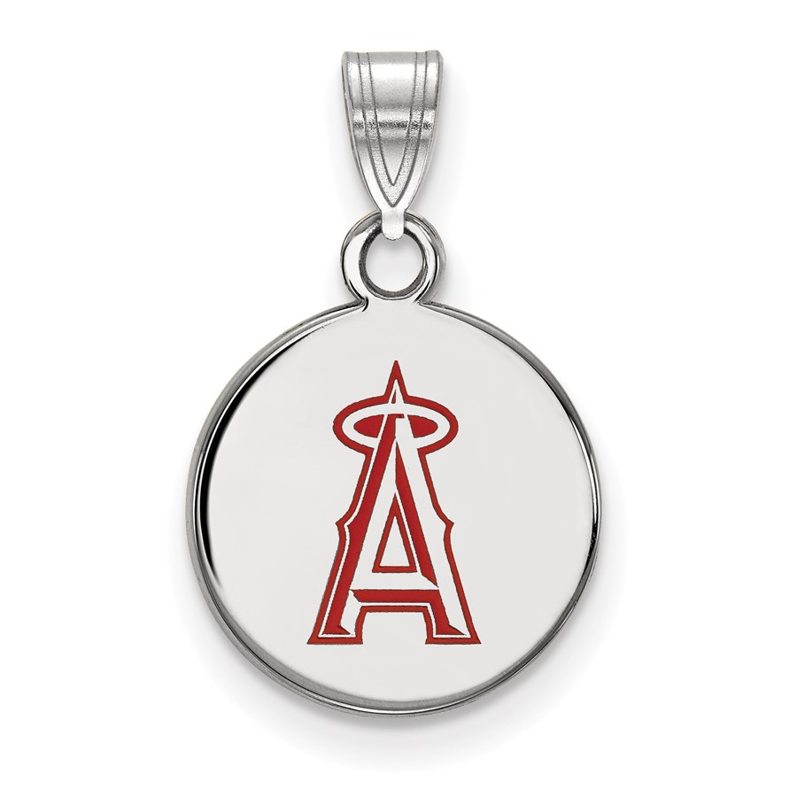 Sterling Silver MLB Los Angeles Angels Sm Enl Disc Pendant