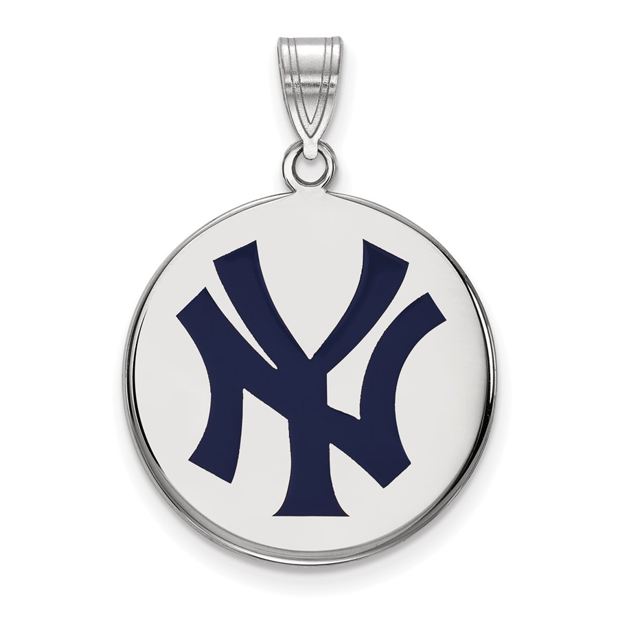 Sterling Silver MLB New York Yankees Disc Pendant