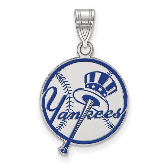 Sterling Silver MLB New York Yankees Med Disc Pendant
