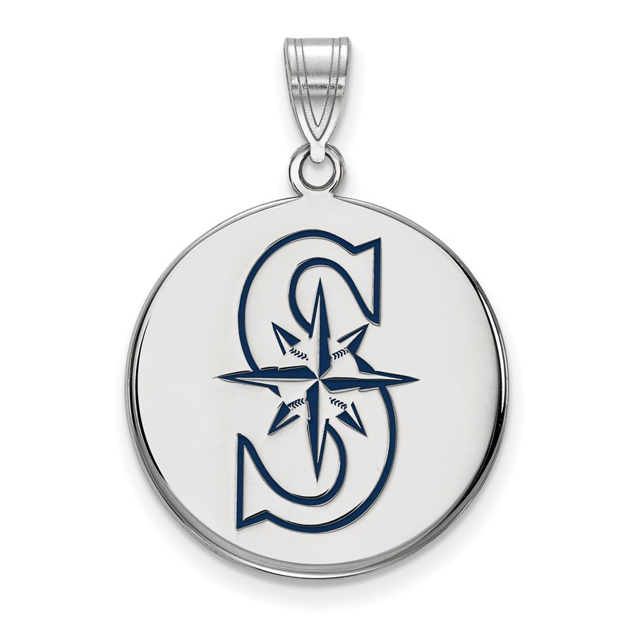 Sterling Silver MLB Seattle Mariners Disc Pendant