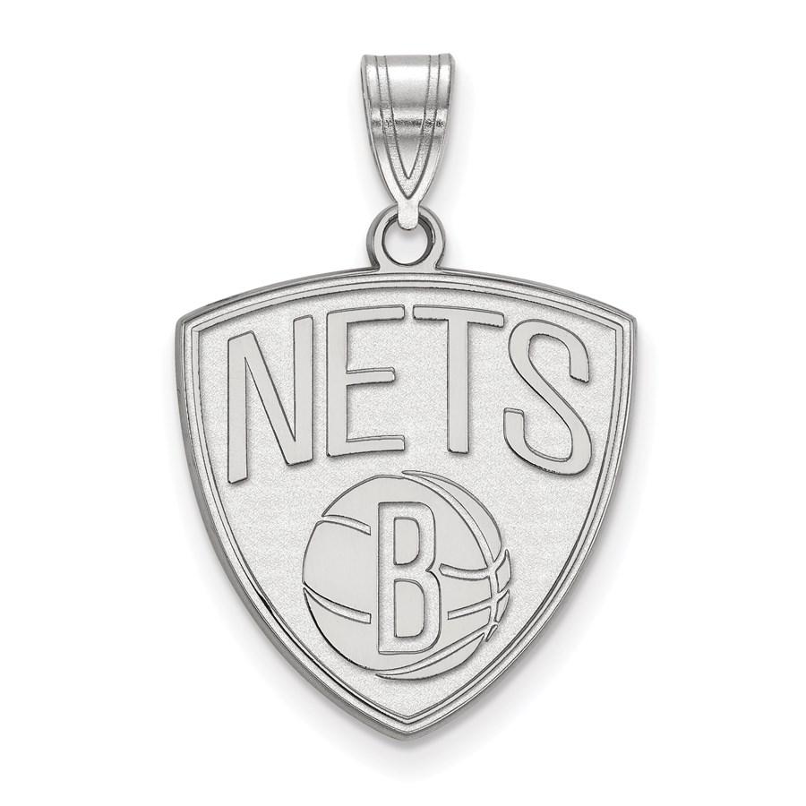 Sterling Silver NBA Brooklyn Nets Large Pendant