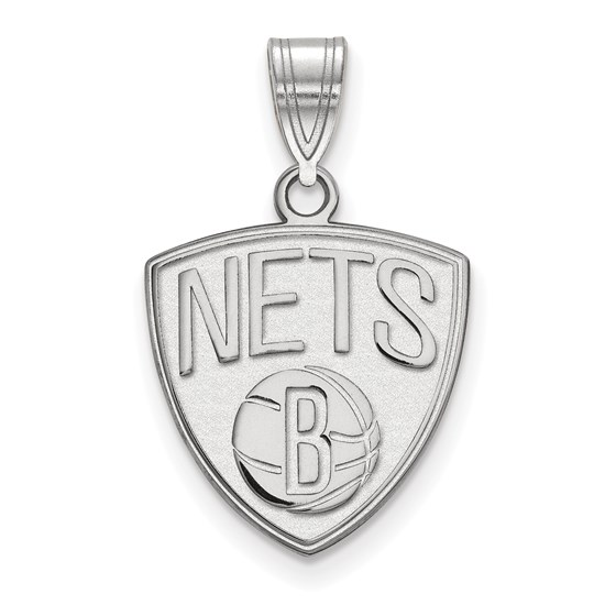 Sterling Silver NBA Brooklyn Nets Medium Pendant