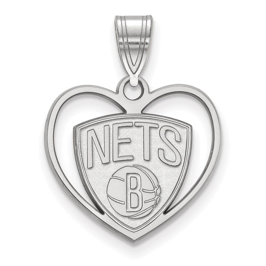 Sterling Silver NBA Brooklyn Nets Pendant in Heart
