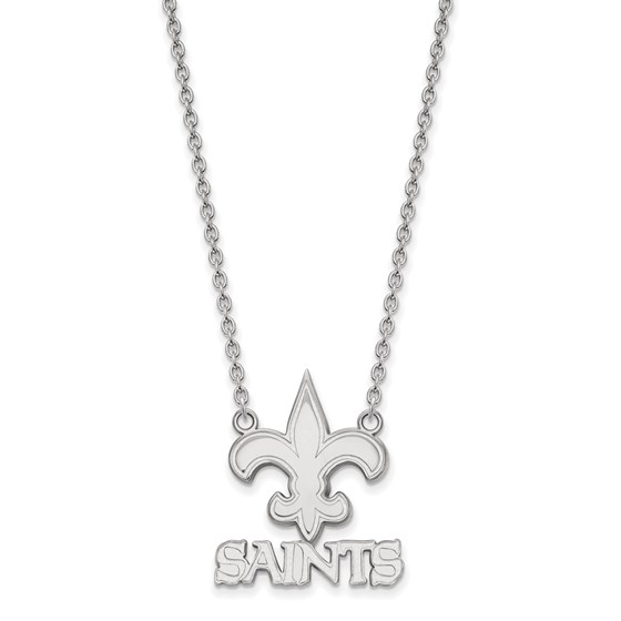 Sterling Silver New Orleans Saints Large Pendant Necklace