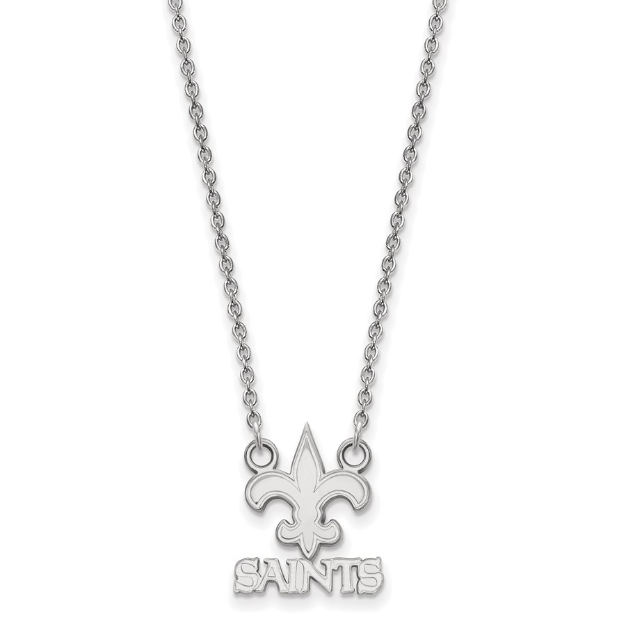 Sterling Silver New Orleans Saints Small Pendant Necklace