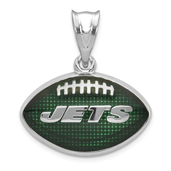 Sterling Silver New York Jets Enameled Football Pendant