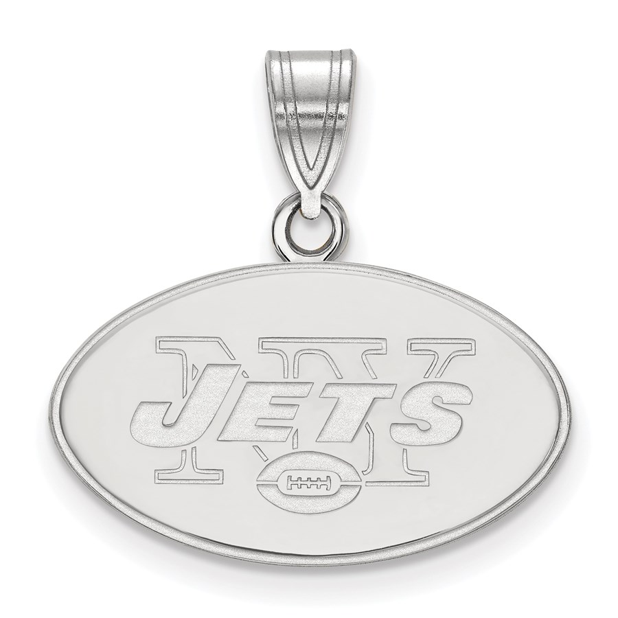 Sterling Silver New York Jets Medium Pendant