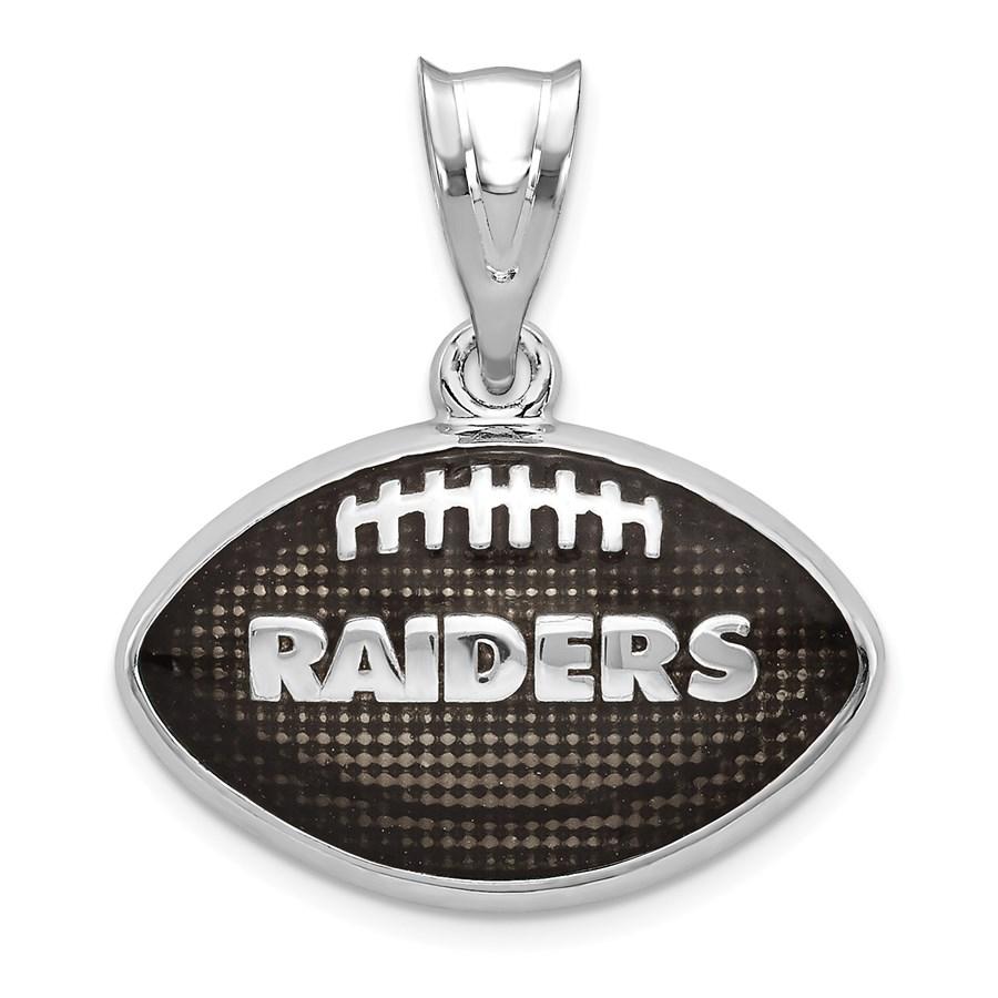 Sterling Silver Oakland Raiders Enameled Football Pendant