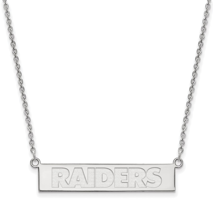 Sterling Silver Oakland Raiders Small Bar Necklace