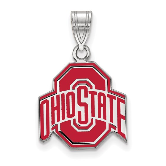 Sterling Silver Ohio State University Medium Enamel Pendant