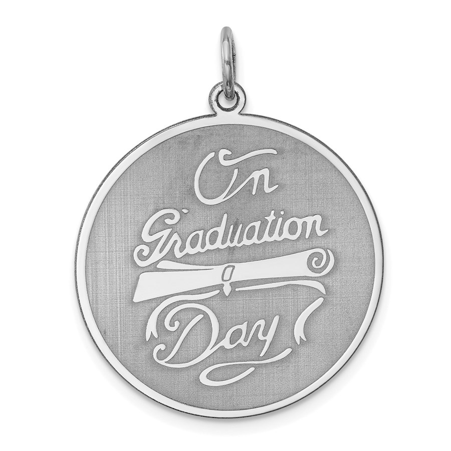Sterling Silver On Graduation Day Disc Charm -3995B
