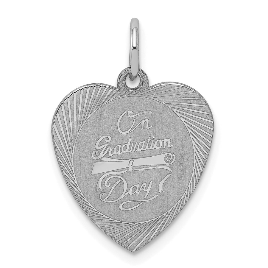 Sterling Silver On Graduation Day Heart Disc Charm