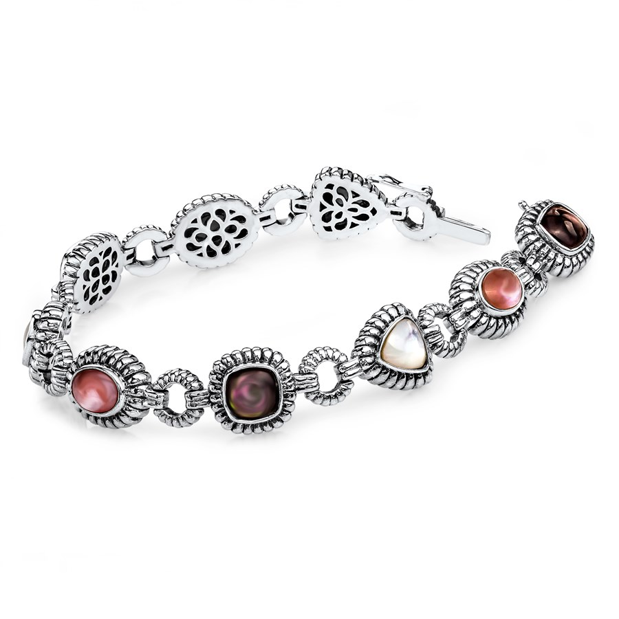 Sterling Silver Pink/Black/White Mother of Pearl Bracelet