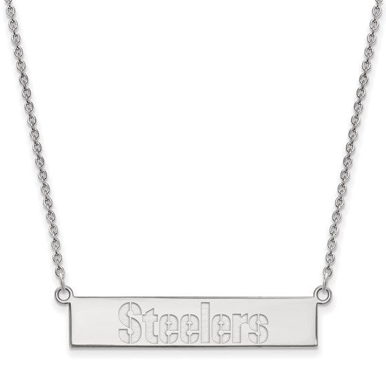 Sterling Silver Pittsburgh Steelers Small Bar Necklace