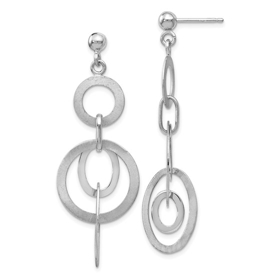Sterling Silver Polished and Brushed Dangle Earrings - 50 mm