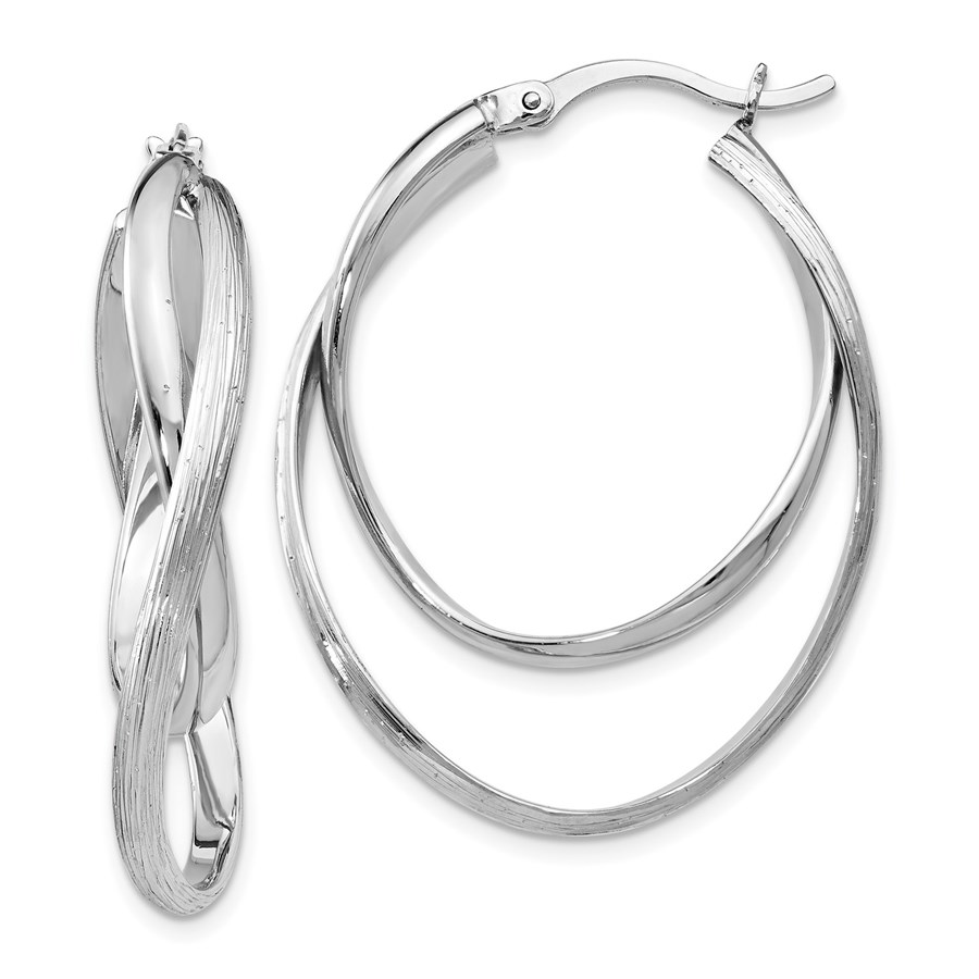 Sterling Silver Polished and Textured Hoop Earrings - 37 mm