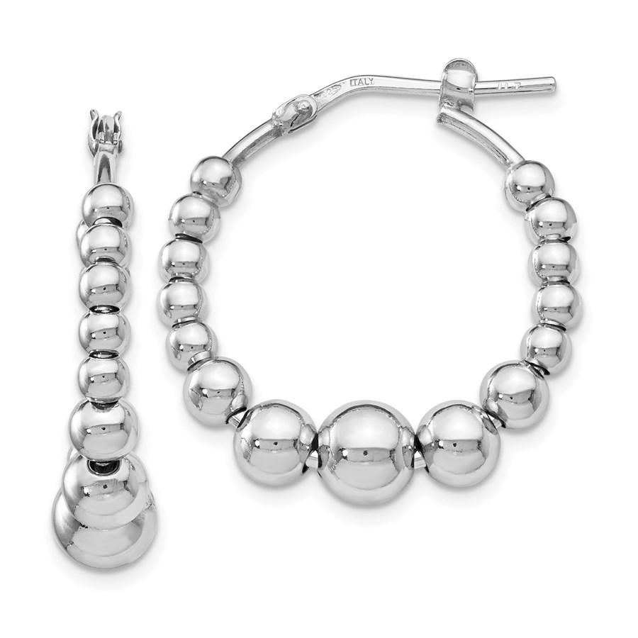 Sterling Silver Polished Beaded Hoop Earrings - 26.5 mm
