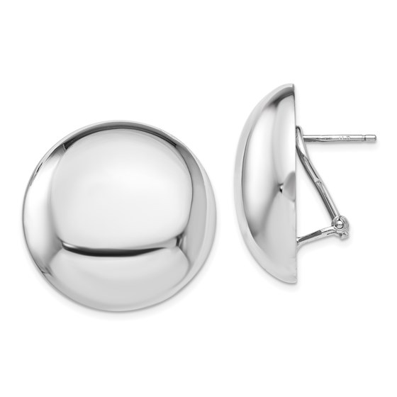Sterling Silver Polished Button Omega Back Earrings - 26 mm