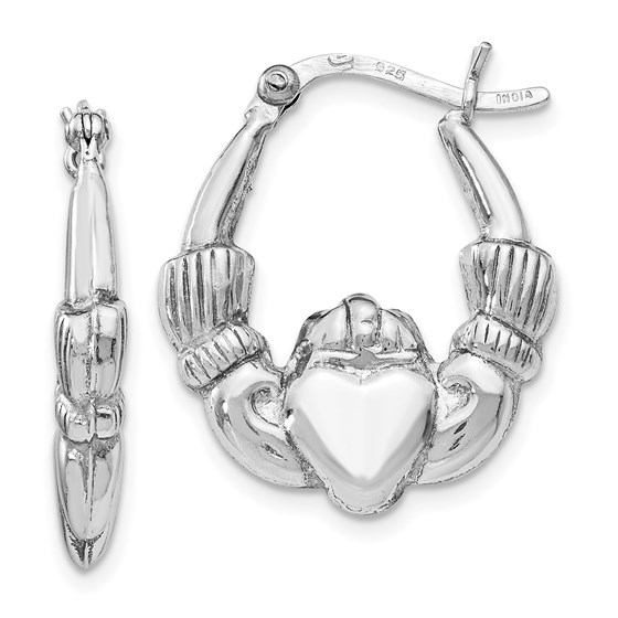 Sterling Silver Polished Claddagh Hinged Hoop Earrings - 22.5 mm
