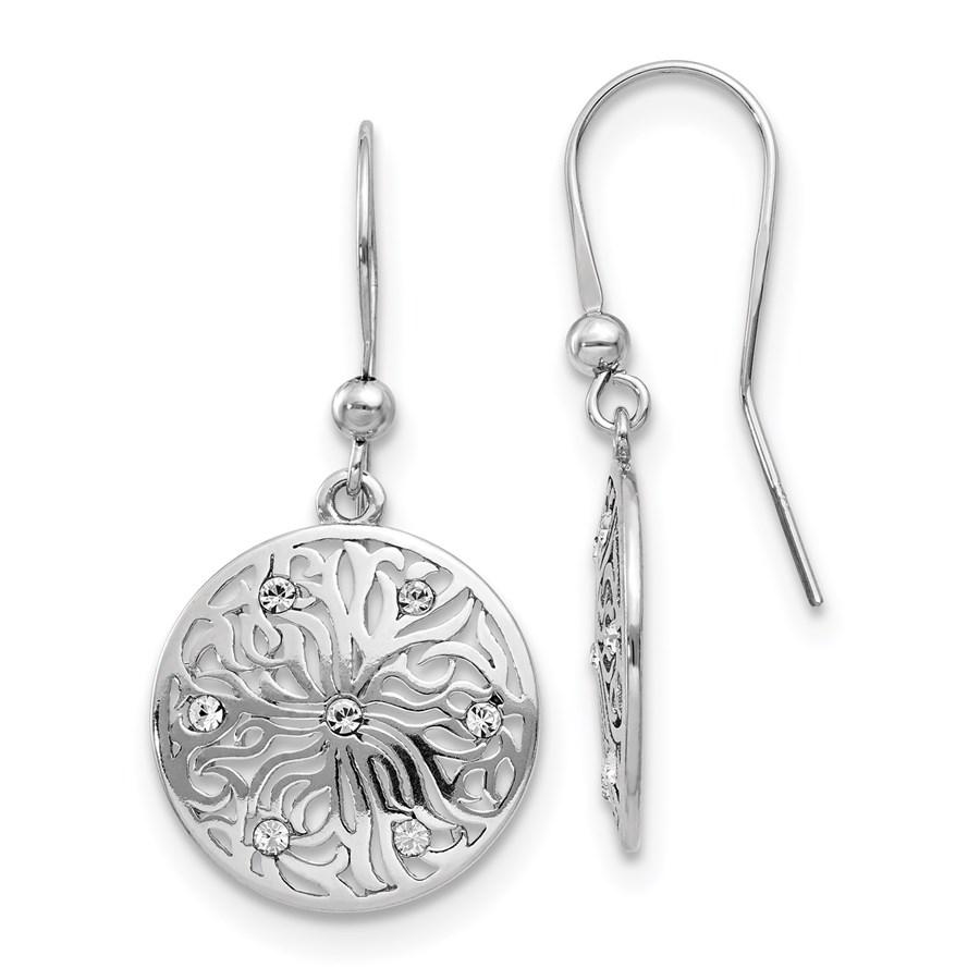 Sterling Silver Polished CZ Dangle Earrings - 37 mm