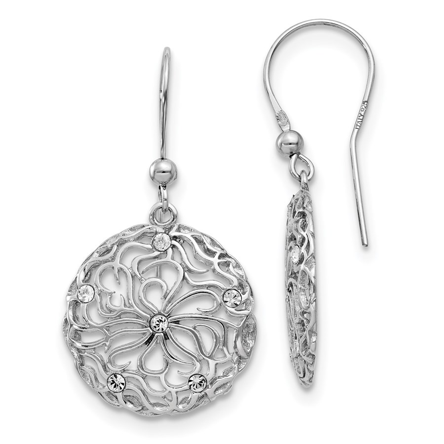 Sterling Silver Polished CZ Floral Dangle Earrings - 39 mm