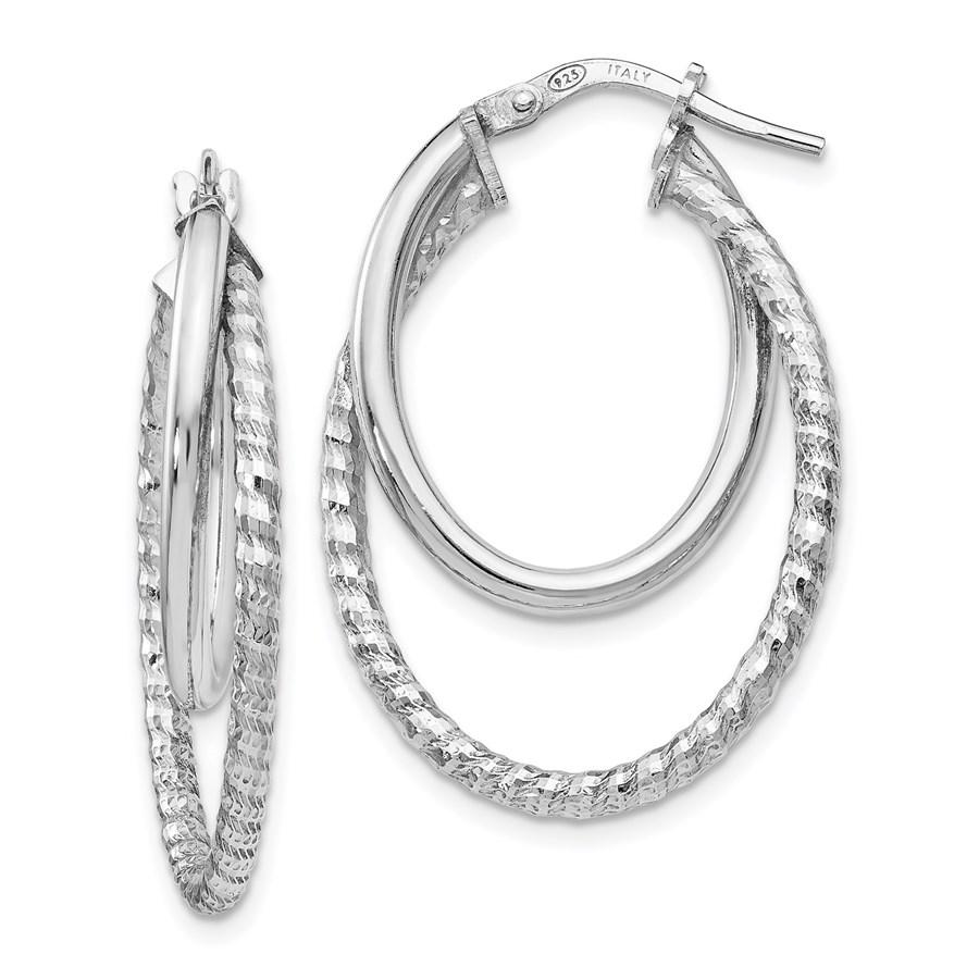 Sterling Silver Polished D/C Oval Hoop Earrings - 32 mm