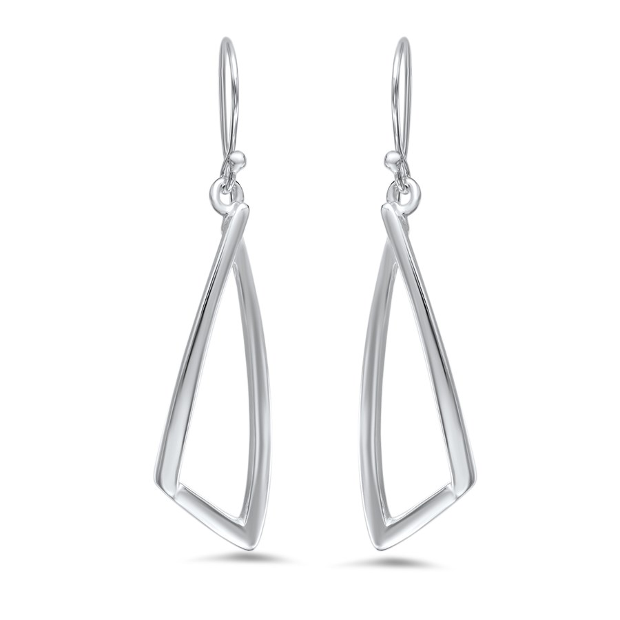 Sterling Silver Polished Dangle Triangular Earrings