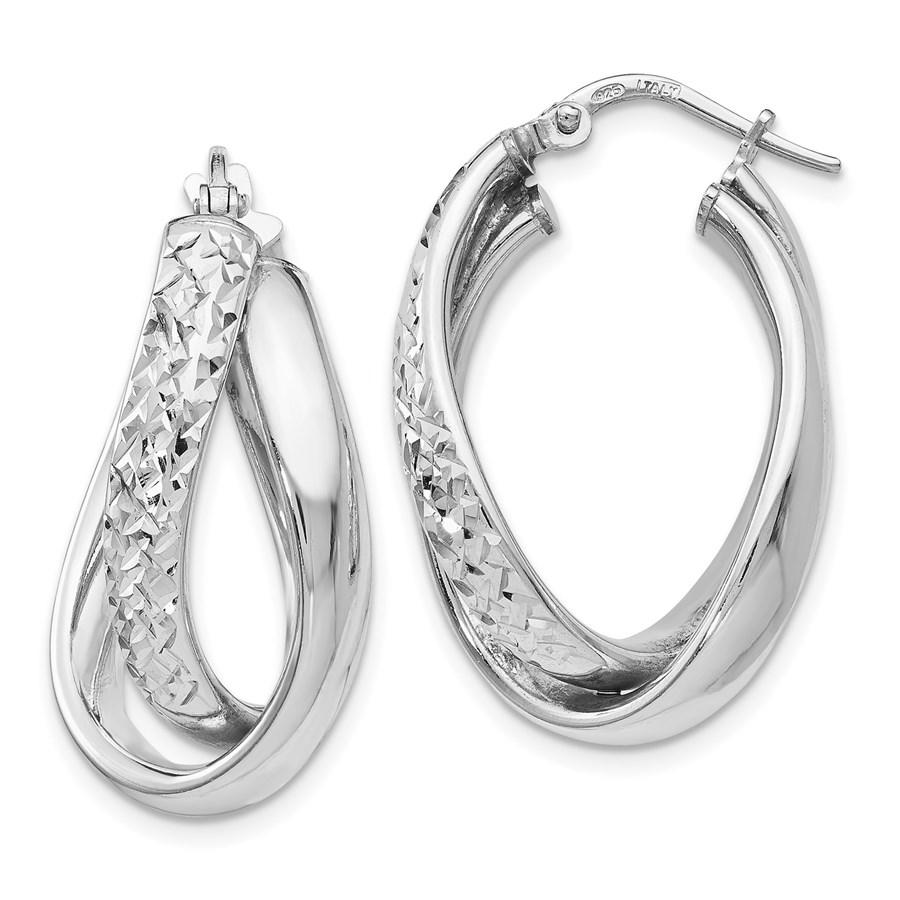 Sterling Silver Polished Fancy Hoop Earrings - 26 mm