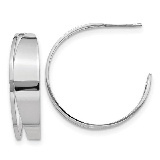 Sterling Silver Polished Fancy Post Hoop Earrings - 32 mm