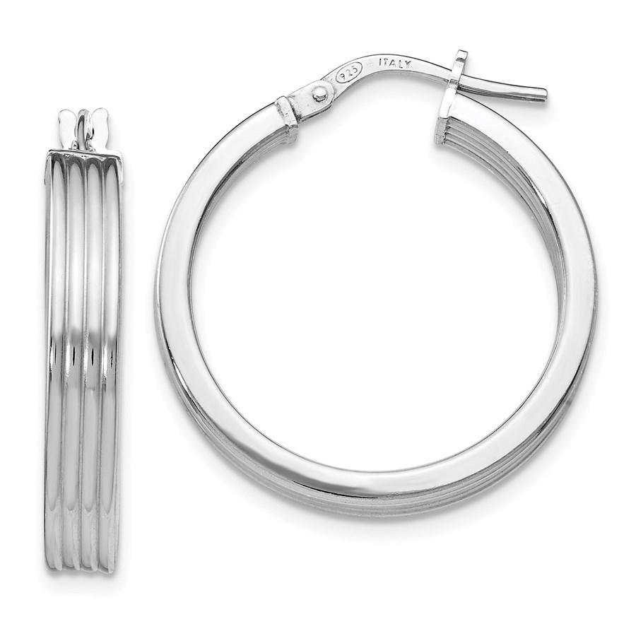 Sterling Silver Polished Grooved Hoop Earrings - 25.25 mm