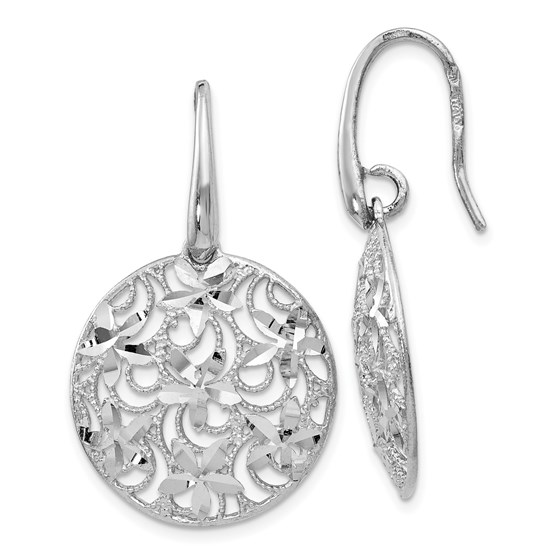 Sterling Silver Polished & Textured Earrings - 37 mm