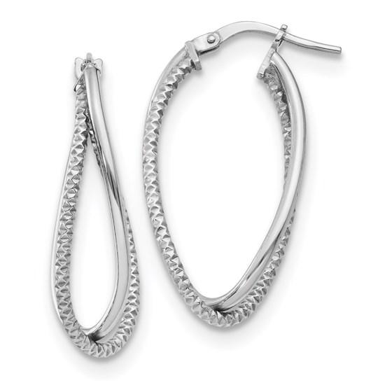 Sterling Silver Polished & Textured Fancy Earrings - 30.5 mm