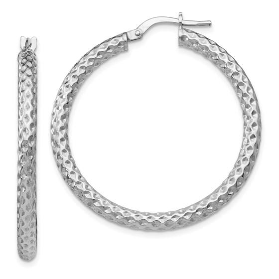 Sterling Silver Polished & Textured Hinged Hoop Earrings - 36 mm