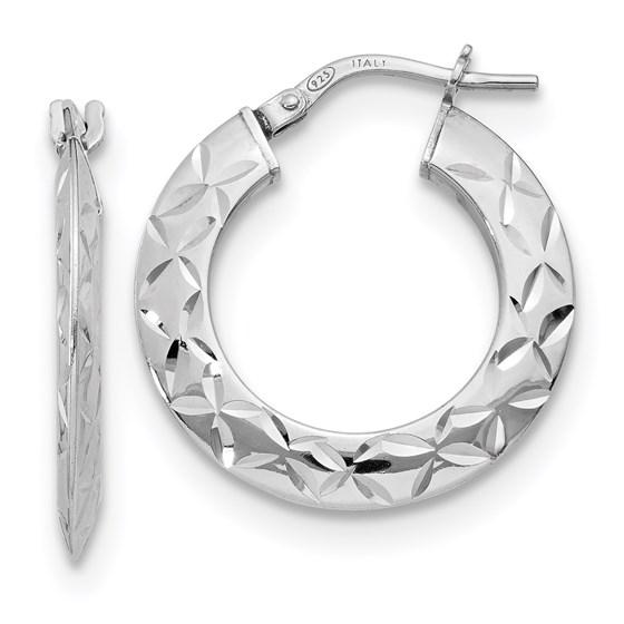 Sterling Silver Polished & Textured Hoop Earrings - 24 mm