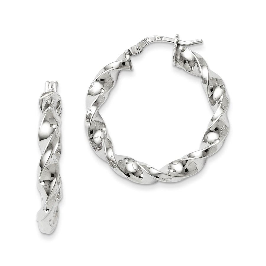 Sterling Silver Polished Twisted Hinged Hoop Earrings - 29 mm