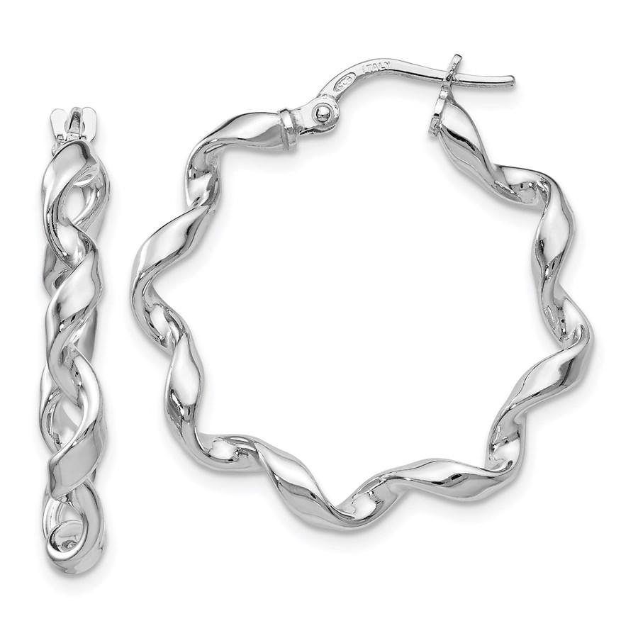 Sterling Silver Polished Twisted Hoop Earrings - 26 mm