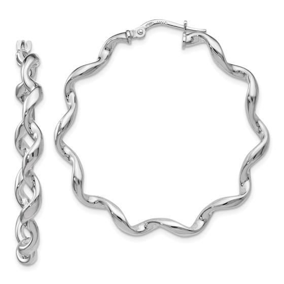 Sterling Silver Polished Twisted Hoop Earrings - 38 mm