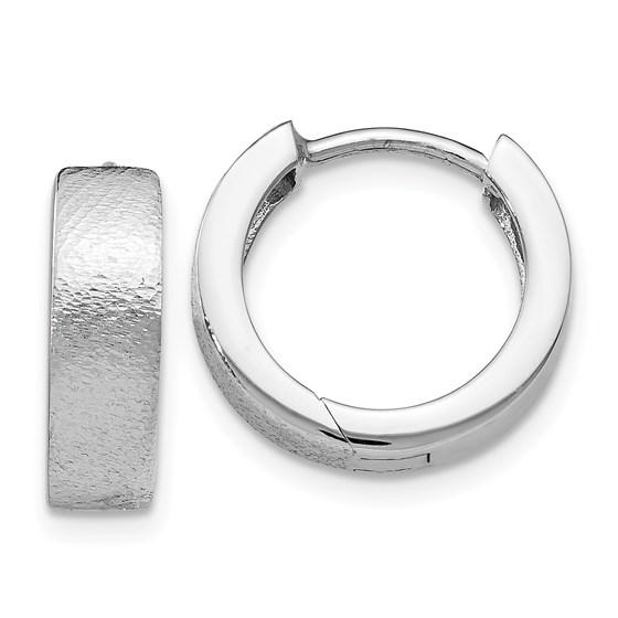 Sterling Silver Radiant Textured Huggie Hoop Earrings - 13 mm