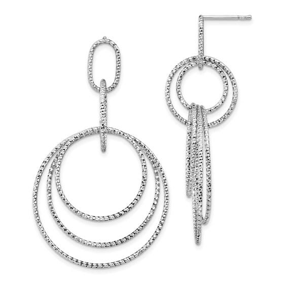 Sterling Silver Rh-plated D/C Post Dangle Earrings - 52.2 mm