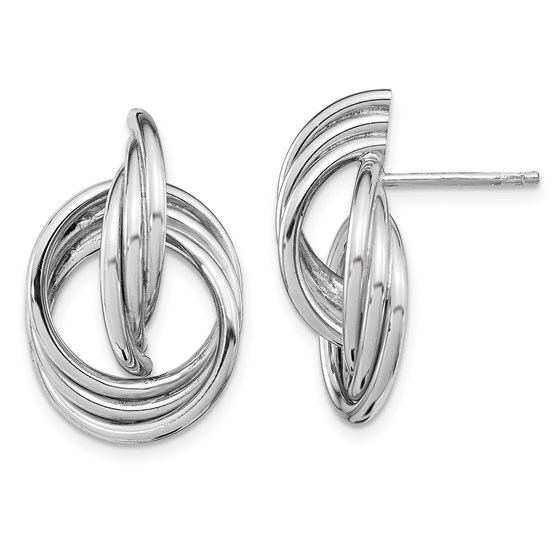 Sterling Silver Rh-plated Polished Post Earrings - 23.19 mm