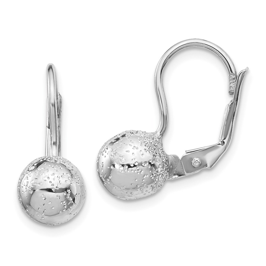 Sterling Silver Rhod Radiant 8mm Ball Leverback Earrings - 19 mm