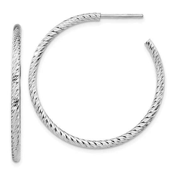 Sterling Silver Rhod Radiant D/C Post Dangle Earrings - 35 mm