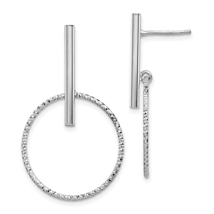 Sterling Silver Rhod Radiant D/C Post Dangle Earrings - 36 mm