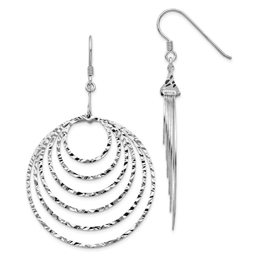 Sterling Silver Rhodium Circles Dangle Earrings - 65.4 mm