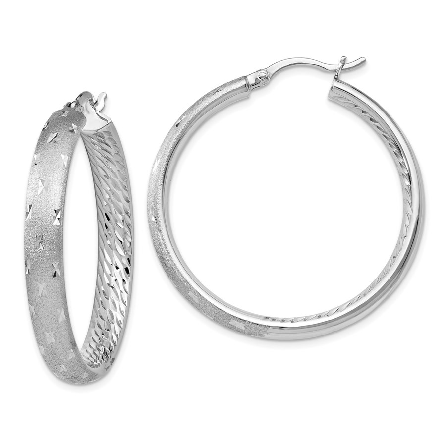 Sterling Silver Rhodium In/Out D/C Earrings - 39 mm