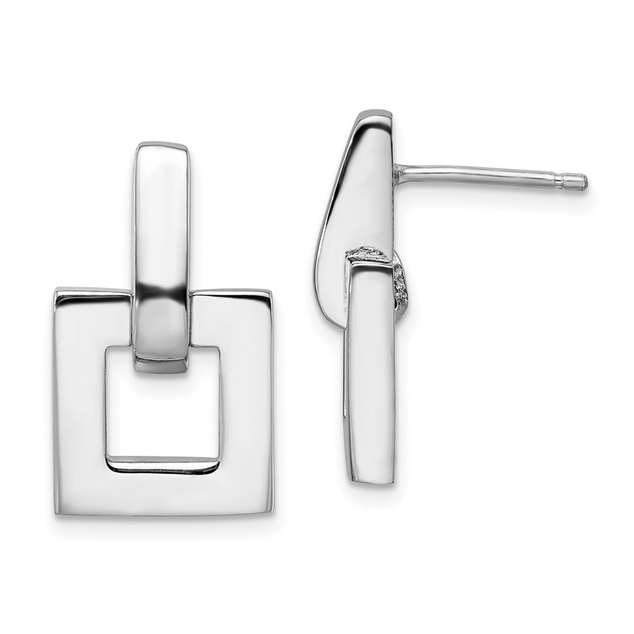 Sterling Silver Rhodium-pl Post Dangle Earrings - 21 mm